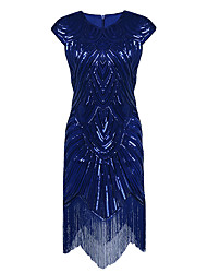 vaina / columna joya cuello asimétrico de poliéster partido de fiesta homecoming vestido con lentejuelas