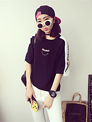 Damen Druck Einfach Lässig/Alltäglich T-shirt,Rundhalsausschnitt ½ Länge Ärmel Baumwolle
