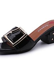 Women's Sandals Summer Comfort PU Outdoor Low Heel Metallic toe Black White Walking