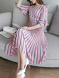 Women's Casual/Daily Sheath Dress,Striped Round Neck Midi Short Sleeve Silk Cotton Summer Fall Low Rise Micro-elastic Medium