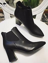 Женские каблуки весенние клубные туфли pu cowhide casual black