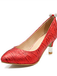 Women's Heels Spring Fall Formal Shoes Leatherette Outdoor Office & Career Party & Evening Dress Casual Stiletto Heel RhinestoneRed