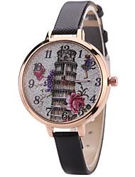 Women's Fashion Watch Wrist Watch Quartz PU Band Unique Creative Cool Casual Cute Silver Powder Multi-colored Sparkle Alloy Dial Watches