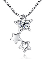 Women's Pendant Necklaces AAA Cubic Zirconia Star Cubic Zirconia Platinum Plated Unique Design Silver Jewelry ForWedding Party Special