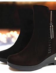 Mulheres botas de conforto primavera pu tecido casual marrom escuro preto