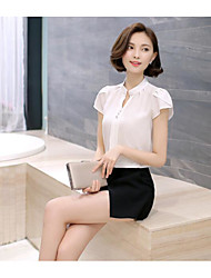 Women's Casual/Daily Simple Blouse,Solid V Neck Short Sleeve Cotton