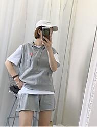 Damen Solide Einfach Lässig/Alltäglich T-shirt,Mit Kapuze Frühling Sommer Ärmellos Baumwolle Undurchsichtig
