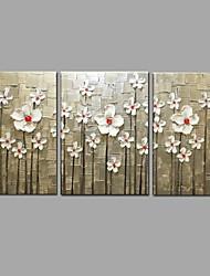 Arte moderno de la pared de la flor del cuchillo de la pintura al óleo de la pintura al óleo pintada a mano de 3 pedazos / sistema con
