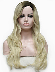 Lady Women Blonde With Dark Root Long Cascaded Layers Synthetic Hair Full Wig