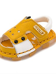 Boys' Baby Sandals First Walkers Cowhide Summer Casual First Walkers Flat Heel White Yellow Flat