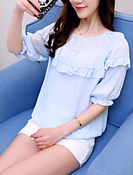 Women's Casual/Daily Simple Summer Blouse,Solid Round Neck Short Sleeve Silk Cotton Opaque