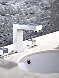 Contemporain Diffusion large large spary with  Soupape céramique Deux poignées trois trous for  Chrome , Robinet lavabo