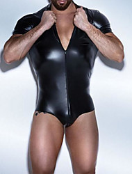 Men's Zipper High Collar Faux Leather Wetlook Cosplay Playsuit Costume