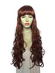 New Style Long Deep Wave Synthetic Fiber Heat Resistant Wig With Neat Bangs Fashion Wig Hairstyle