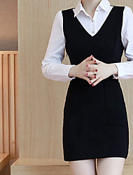 Sign Spring new women's fashion patch pocket stitching short paragraph Slim false two long-sleeved dress tide
