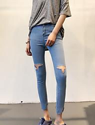 Women's High Rise Micro-elastic Jeans Pants,Slim Skinny Solid