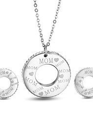 Kalen New Rhinestone Silver Color MOM Letters Pendant Necklace & Stud Earrings Sets Classic Best Mother's Day Gifts For Mother Mom Mama