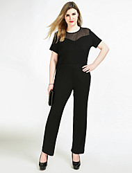 Really Love Women's High Rise Work Party Casual/Daily Jumpsuits,Sexy Vintage Simple Straight Slim Mesh Solid All Seasons Spring Summer