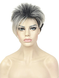 Short Asymetrical Black Blonde Ombr Full Synthetic Wig