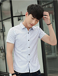 Men's Casual/Daily Simple Shirt,Striped Classic Collar Short Sleeve Cotton Polyester