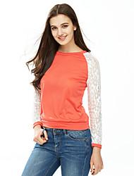 Damen Patchwork Einfach Lässig/Alltäglich T-shirt,Rundhalsausschnitt Herbst Langarm Rot / Schwarz / Grau / Grün Mittel