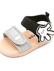 Girls' Baby Sandals First Walkers PU Summer Casual First Walkers Flat Heel Black Gray Ruby Flat