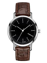 KINGNUOS Masculino Relógio de Moda Relógio de Pulso Relógio Casual Quartzo Couro Banda Legal Casual Preta Marrom Preto Marron