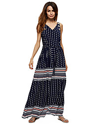 Women's Casual/Daily Work Simple Loose Dress,Solid Print V Neck Maxi Sleeveless Polyester All Seasons Low Rise Micro-elastic Medium