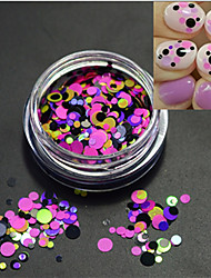 1Bottle Hot Fashion Sweet Nail Art Colorful Glitter Paillette Pink Round Slice DIY Beauty Decoration P15