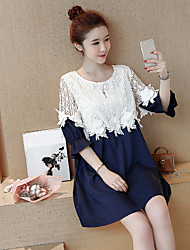 Maternity Summer Wear Fashionable Sweet Horn 7 Minutes Of Sleeve Lace Hollow Out Tall Waist Round Collar Lace Flower Pregnant Women Dress