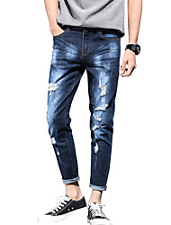 Men's Mid Rise Micro-elastic Jeans PantsSimple Slim Ripped Tassel Solid ACD-A170