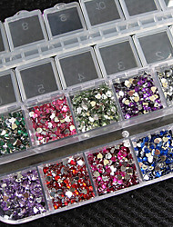 3000 Pcs Heart Shape Crystal Rhinestones Nail Art Gems With Case For Acrylic Tips UV Gel DIY Deco