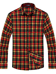 Men's Business Casual Yellow-Orange-Blown-Red Grids Long Sleeve Shirt mm-1024