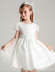 Princess Knee-length Flower Girl Dress - Polyester Lace Jewel with Beading Lace