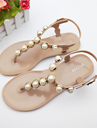 Women's Sandals Summer Jelly Shoes PVC Casual Flat Heel Imitation Pearl Almond Black White
