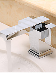 Contemporary Art Deco/Retro Modern Vessel Widespread with  Ceramic Valve Two Handles One Hole for  Chrome , Bathroom Sink Faucet