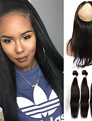Malaysian Virgin Hair With Closure 360 Lace Frontal With Bundle Straight Human Hair With Closure Peruvian Lace Hair Closure