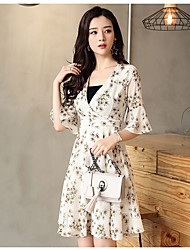 Women's Casual/Daily A Line Dress,Floral V Neck Above Knee ½ Length Sleeve Polyester Spring Summer High Rise Micro-elastic Thin