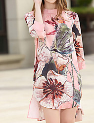 Women's Casual/Daily Simple Loose Dress,Print Stand Above Knee ¾ Sleeve Polyester Summer Mid Rise Inelastic Thin