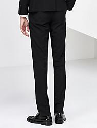 Masculino Vintage Cintura Alta Micro-Elástico Chinos Calças,Solto Cor Única,Taxas