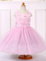 Vestido de baile com vestido de bola vestido de menina - organza pérola sem mangas com pérola