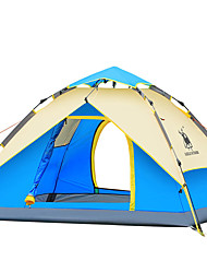 3-4 persons Tent Double Automatic Tent One Room Camping Tent Fiberglass Oxford Waterproof Ultraviolet Resistant Windproof Foldable-Hiking