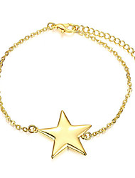 Exquisite Yellow Gold Plated Five-Pointed Star Chain & Link Bracelets Jewellery for Women Accessiories