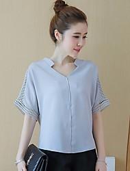 Tee-shirt Femme,Couleur Pleine Sortie simple ½ Manches Col en V Coton