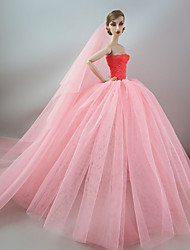 Wedding Dress in Pink with A Long Veil For Barbie Doll For Girl's Doll Toy
