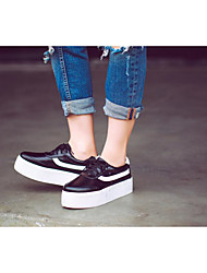 Women's Sneakers Comfort Patent Leather Casual Flat Heel White Black 3in-3 3/4in
