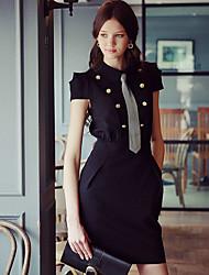 Damen Bodycon Hülle Das kleine Schwarze Kleid-Ausgehen Arbeit Party/Cocktail Street Schick Anspruchsvoll Solide Hemdkragen Übers Knie