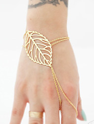 Women's Leaf Chain Bracelet Ring Bracelet Jewelry Handmade Bohemian Alloy Circle Silver Gold Jewelry ForSpecial Occasion Anniversary Birthday