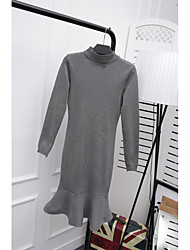 Women's Casual/Daily Trumpet/Mermaid Dress,Solid Stand Knee-length Long Sleeve Polyester Spring Summer Mid Rise Micro-elastic Thin