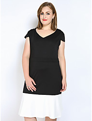Really Love Women's Plus Size Casual/Daily Party Sexy Vintage Cute A Line Shift Sheath Dress,Color Block Patchwork V Neck Midi Short SleevePolyester